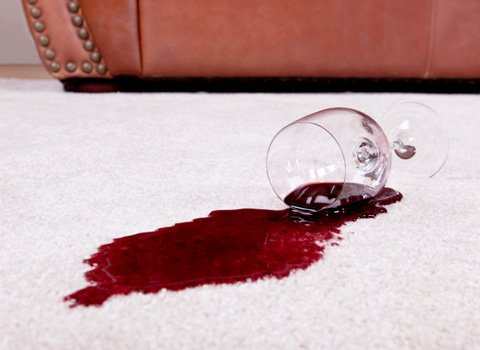 red wine stain on carpet