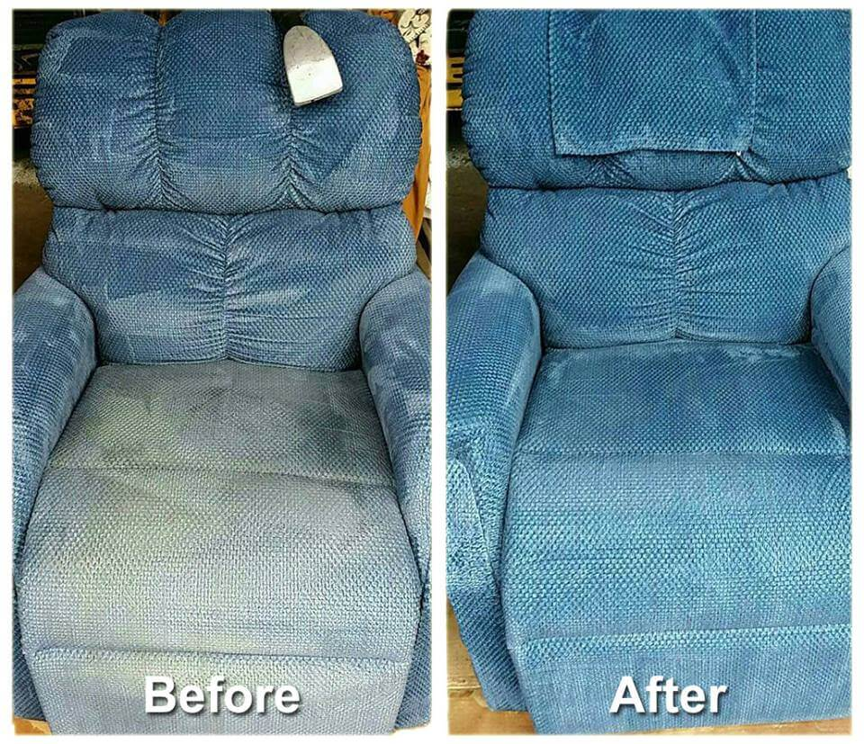 blue couch before and after upholstery cleaning in omaha