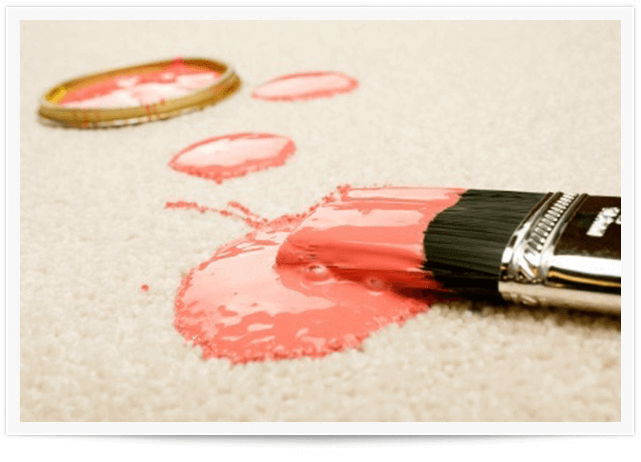 pink paint on white carpet