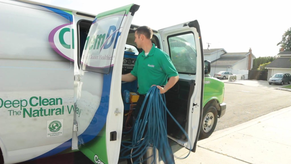 M.S. Chem-Dry tech preparing cleaning van in omaha